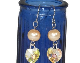 Crystalized Swarovski Heart with Pearl Colored Beads Earrings