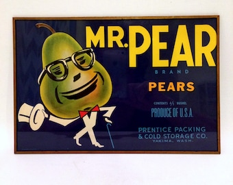 Mr. Pear Fruit Crate Label Frame Art