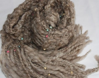 CLEANING SHOP 33% OFF Sale Long Hand Knit Bulky Scarf,  in natural tan with Beads, Super Soft Handspun Wool Yarn