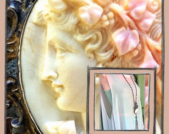 Antique cameo  assemblage pink opals rose quartz superlong flapper necklace
