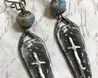 Handcasted Pewter Charm Cross earrings metalworks sterling earwires handcrafted earrings Artisan pottery beads