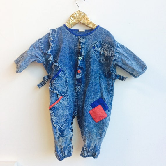 Vintage 2-3 Years Kids Childrens Romper Jonjon Playsuit Dungaree Unisex