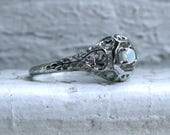 Beautiful Vintage 18K White Gold Opal Filigree Engagement Ring - 0.15ct.