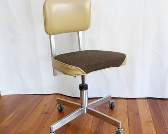 Vintage Rolling Swivel Office Chair, Mid Century Metal Desk Chair, Industrial Chair
