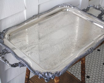 Large silver footed tray, huge silver tray with feet, large rectangular silver tray, silver tray with handles