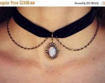 SUMMER SALE pink opal velvet choker, opal choker, pink opal necklace, short necklace, hippie necklace, 90s fashion