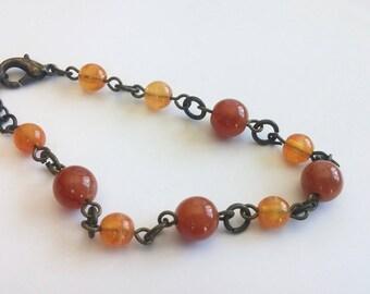 SALE Red Carnelian and Orange beaded brass bracelet. Everyday. Gift for her/teen girl. Small wrist. Adjustable bracelet. Nature.