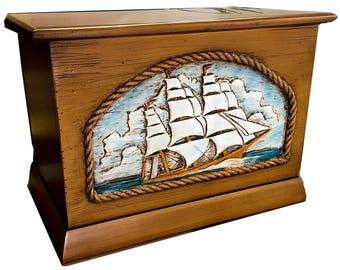 Nautical Ship's Wood Trunk