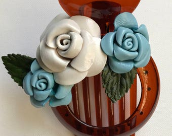 Rose trio Flora leather flower comb clip & bun holder