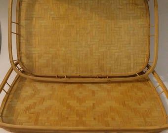 Set of 2 Vintage Aztec style trays, Boho, Neutral Decor