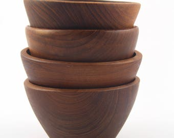 4 Matching Mid Century Danish Modern Individual Teak Salad Bowls~ Conical Shape