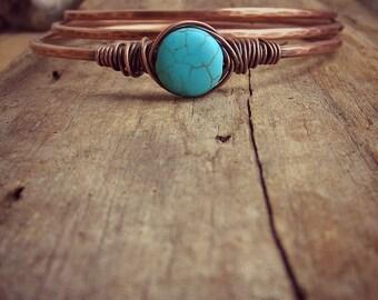 Bangle Bracelets • Turquoise • Stacking Bracelets • Hammered Copper Bangle Bracelets • Bangle Trio