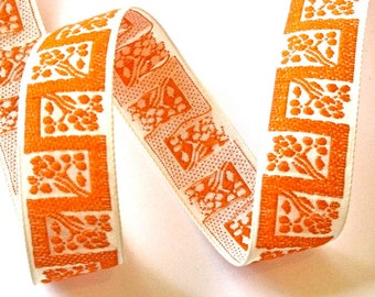 "Vintage Woven Ribbon -  1 "" x 3  yds  Natural and Orange Geometric"