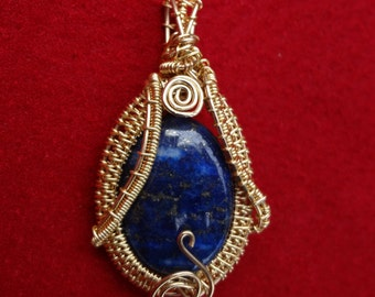 Lapis Lazuli Pendant Wire Wrapped and Woven in Gold Filled Wire