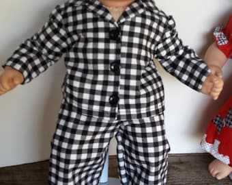"American Girl 15 ""Bitty Twins Doll Clothing - Black Check Cotton Pajamas Boy Twin"