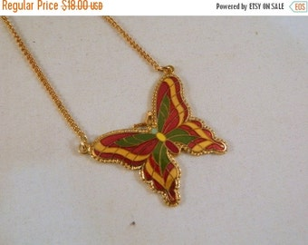 Last Minute Holiday SALE Vintage Sarah Coventry Neon Butterfly Necklace / 1970s Goldtone Pendant Necklace in the Original Box New Old Stock