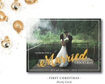 First Christmas Printed aCards | Married | Christmas Photocard | Printed or Printable by DarbyCards