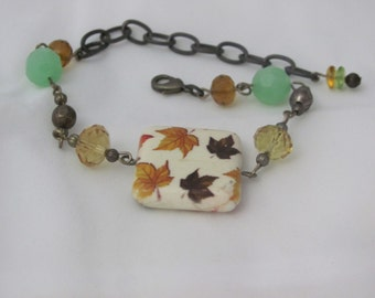 Fall Leaves and Czech Crystal Bead Bracelet