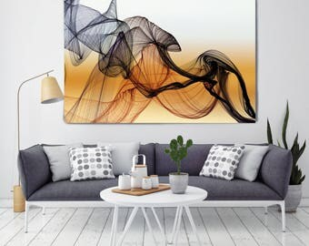 "The Invisible World-Movement 20, Abstract New Media Art, Wall Decor, Extra Large Abstract Brown Canvas Art Print up to 72"", Irena Orlov"