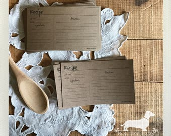 CLEARANCE! 3x5 Abby Recipe Cards (Qty 12) -- (Simple, Wedding Gift, Bridal Shower Favor, Rustic, Farmhouse Chic, Brown Kraft, For Kitchen)