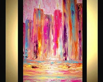 Original Extra Large Abstract Painting Modern Acrylic Painting Oil Painting Canvas Art Gold MELTING POT 36x24 Textured Wall Art  J.LEIGH