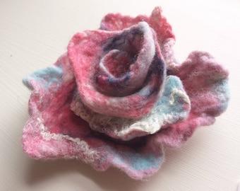 Pink Rose Brooch Pin Felted Jewelry Brooch Felt Flower Wedding