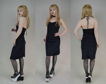 90s Black Slinky Halter Neck Sequin Trim Mini Dress XS / S