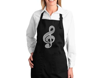 Full Length Dual Pocket Apron - Created using a list of the most popular Classical Music Composers of All Time Music Note