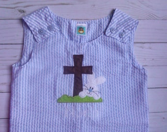 Easter romper/ Easter jon jon/ Easter shortall/ Easter bunny outfit/ Easter bunny and cross/ personalized romper