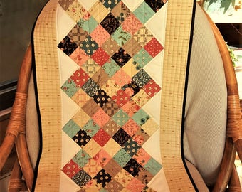 QUILTED TABLE RUNNER or wall hanging Rambling Rose fabrics Shades of pinks to rose, greens, mud to brown, beiges home decor home made
