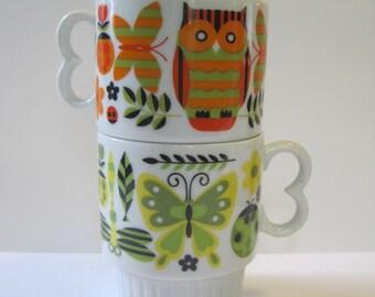 Vintage Stacking Pedestal Mugs set of 2 - Butterfly Dragonfly Ladybug Owl
