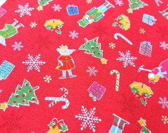 Lecien Christmas fabric, small Christmas motifs in bright red, mouse king, candy cane, snow flake, Christmas tree, stocking, nutcracter