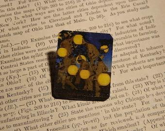 Art brooch art lapel pin Maxfield Parrish The Lantern Bearers jewelry