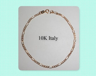 Lovely Dainty Delicate Thin Marked Stamped 10K Italy Gold Chain Link Bracelet