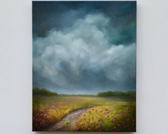 storm cloud painting, landscape painting, original oil painting, flower meadow painting - Summer Dreams