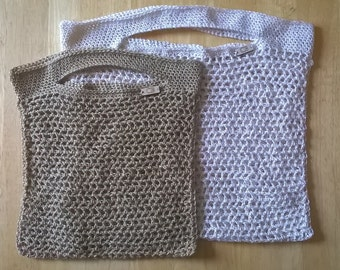 Cotton Crochet Shopping Bag - Choice of Colour & Size
