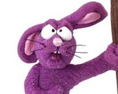 Mad Mat The protest Bunny, a OOAK hand made polymer clay sculpture