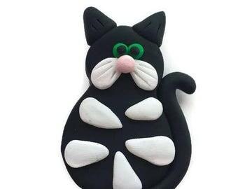 Black Cat Fridge Magnet, Polymer Clay Magnet, Kawaii Magnet, Refrigerator Magnet, Custom Fridge Magnet, Collectible Fridge Magnet, Handmade