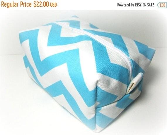 HURRY FLASH SALE Aqua Chevron Makeup Bag  - Cosmetic Pouch -  Lunch Bag - Wet Bag -Waterproof Bag