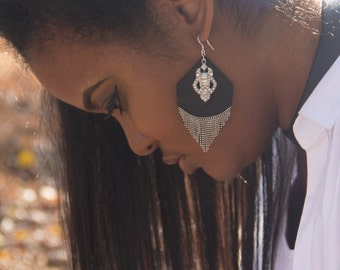 Leather Earrings, Chrystal Earrings, Silver and Black Earrings