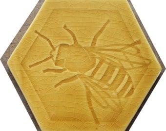 Honey Bee, Left facing -  Hexagonal Tile in Honey Yellow glaze
