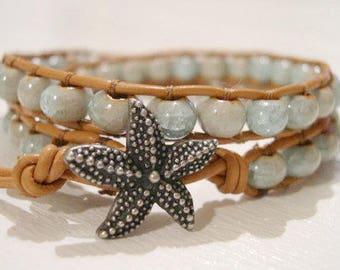 Beaded LeatherWrap Bracelet, Boho bracelet - 904