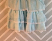 vintage sheer blue with white swiss dot ruffled little girls dress by sharlyn size 2-3 years