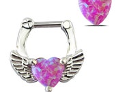 1PC Septum clicker Nose Piercing 316L Stainless Steel Septum Clicker Hinged opal Wings Heart  Nose Ring  Nose Ring Hoop