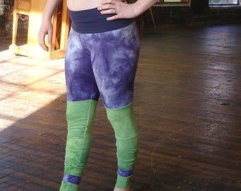 Unique Hemp organic leggings hand dyed medium patchwork tights fiber art green & purple