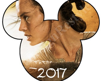 Mickey Mouse Star Wars Rey 2017 Iron-On Digital File