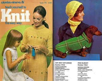 Teach Yourself To Knit the Easy Way Plus Projects Pattern Book 770 Columbia Minerva