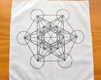 Metatron's Cube: Sacred Geometry White Cotton Grid