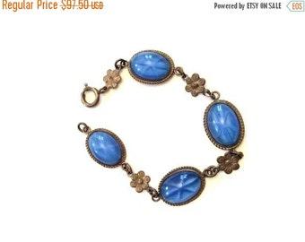 Star Sapphire Bracelet, Satin Glass, Sterling Silver, 1920s Art Deco, CHRISTMAS SALE