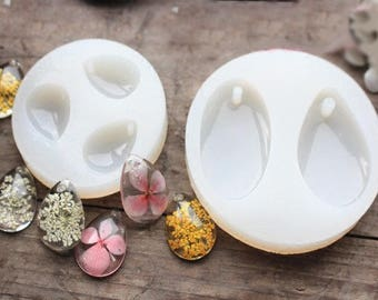 Silicone mold, perforated water droplets shape pendant mould, Dried flower necklace pendant mold